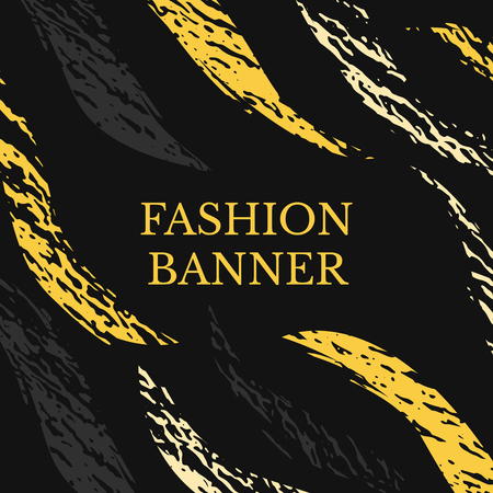 Vector dark grunge banner. Abstract stripes with texture. Urban art style. Trendy background in bright yellow color on black background Illustration