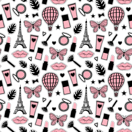 Abstract Seamless pattern fashion style. Cosmetic hand drawing. Paris Eiffel Tower sign. Vector illustration girly stickers isolated on white background