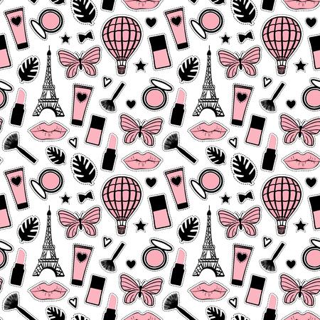 Style de mode abstrait modèle sans couture. Dessin à la main cosmétique. Signe de la Tour Eiffel de Paris. Autocollants girly illustration vectorielle isolés sur fond blanc