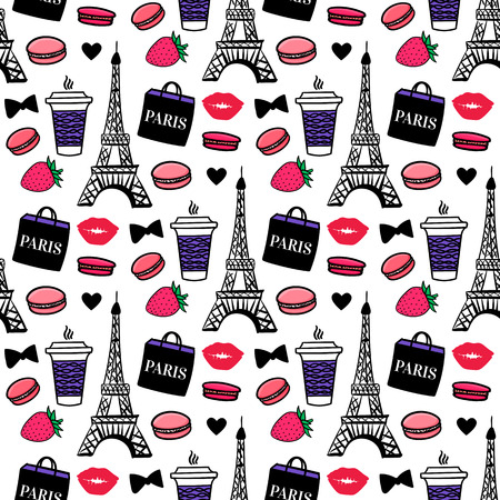 Estilo parisino. Torre Eiffel con café y macarrones. Diseño de superficies. Fondo de dibujo vectorial. Ilustración de vector