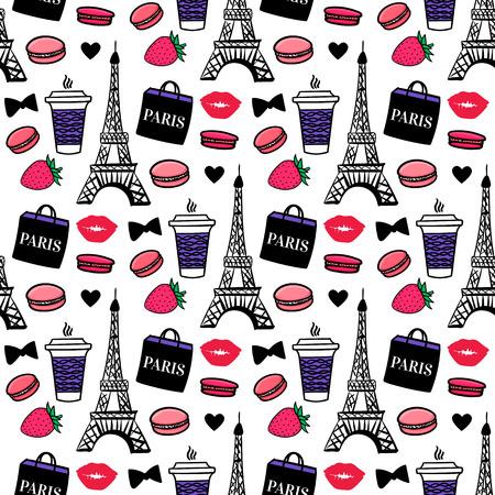 Stile parigino. Torre Eiffel con caffè e amaretti. Progettazione di superficie. Fondo di schizzo di vettore. Vettoriali