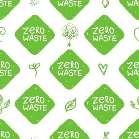 Zero waste seamless pattern. Vector shape green texture isolated Ilustrace