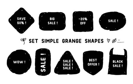 Set Simple Grange different shapes. Vector hand made texture black tag background isolated on white