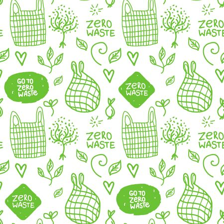 ECO Seamless pattern with hand drawn sign. Vector white inscription zero waste and mesh bag.