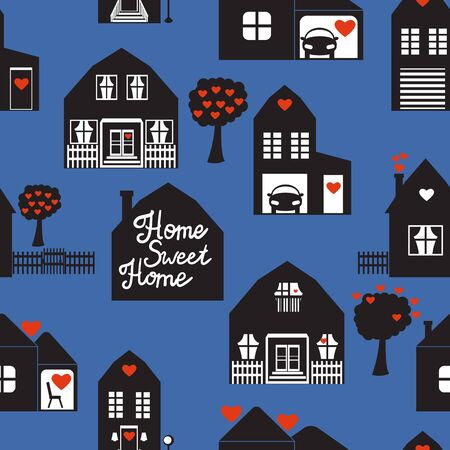 Black houses seamless pattern with cute house. Sweet home Surface design. Vector illustration