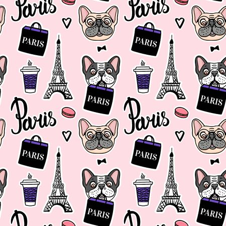 Shopping in paris pink seamless pattern. French Bulldog is holding a shopping bag.