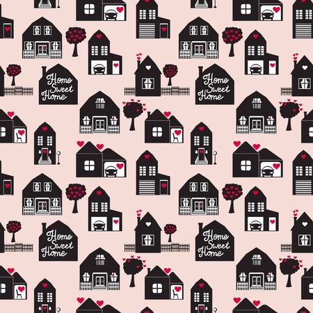 Sweet home seamless pattern with cute house. Surface design. Vector illustration buildings Ilustrace