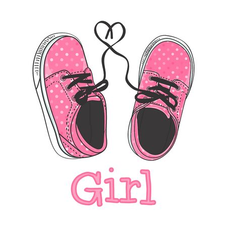 Girls sneakers hand drawing. Pink polka dot coloring. Print Design - Its a girl. Vector illustration of a pair of baby shoes.