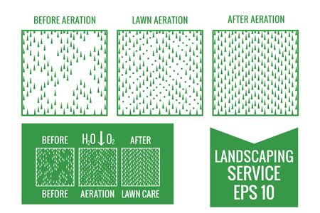 Top view Lawn Aeration service. Before and After stage. Illustration