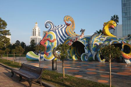 BATUMI, GEORGIA - November 19 2019 : Fantasy cafe or the Octopus after restoration. Marine old building ART architecture of modernist art of the 60-80s