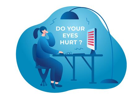 Do your eyes hurt. A woman sits at a table, rubs her eyes, works at a computer monitor. Her eyes hurt and watery. Vector flat illustration
