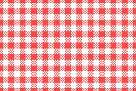 Wide red checkered with white seamless pattern. Vector stock repeating texture background. Kitchen surface design