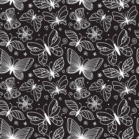 Butterfly line illustration seamless pattern. Black and white ornament of hand drawn butterflies with different wings on black background. Vector stock romantic surface design