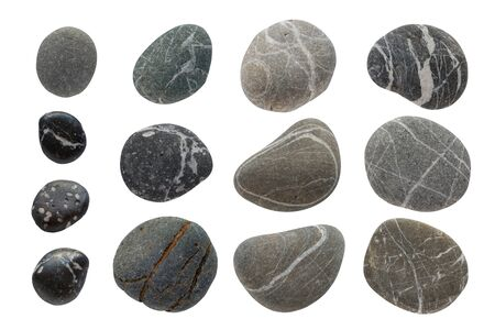 Set of different stones top view. Sea Striped and textured stones, round and oval shape. Stock photo Isolated on a white background.