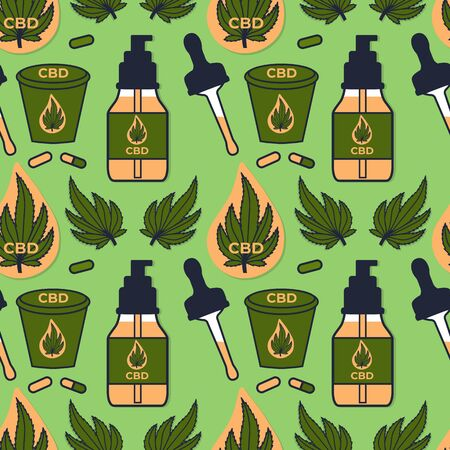 CBD Hemp oil seamless pattern. Illustration bottle with a pipette and a drop signs. Stock Vector design surface design