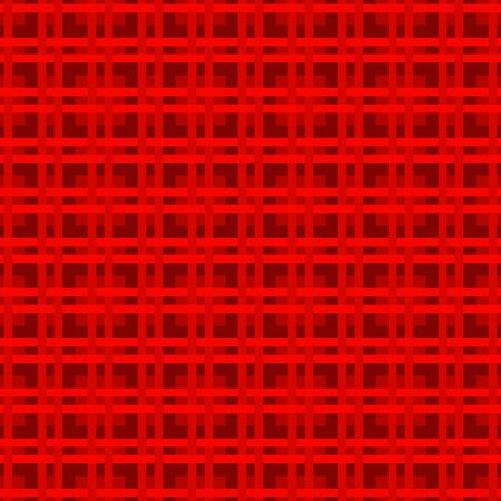 Red Red checkered fabric seamless pattern. A cell of thin intersecting lines. Vector stock repeating background for surface design