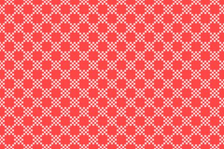 Red checkered seamless pattern. Vector stock repeat texture background. Fabric texture surface design. Flat cell kitchen abstract border Çizim