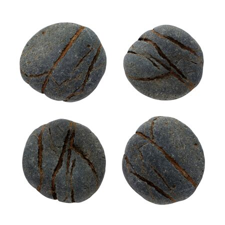 Set round stones with old natural texture. Stock photo top view element design isolated on white background. Game concept destiny material object shape
