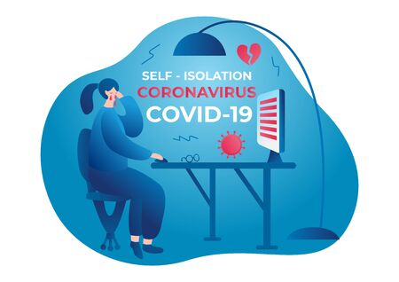 Coronavirus. Self isolation. Home quarantine from Covid-19. All stay at home. Self-isolate from a pandemic. Vector illustration