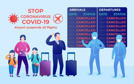 Coronavirus covid- 19. People at the airport. Vector flat illustration. Display board Cancelled. Airport suspends all flights quarantine.