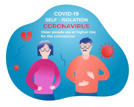 Older aged people are at higher risk for the coronavirus. Self isolation. Home quarantine from Covid-19. All stay at home. Self-isolate from a pandemic. Vector illustration Çizim