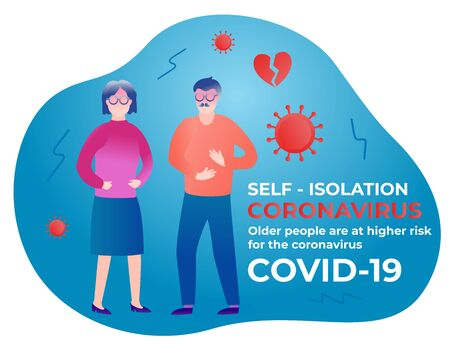 Older aged people are at higher risk for the coronavirus. Self isolation. Home quarantine from Covid-19. Self-isolate from a pandemic. Vector illustration