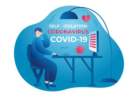 Coronavirus. Self isolation. Home quarantine from Covid-19. All stay at home. Self-isolate from a pandemic. Vector illustration Man sitting at the table Çizim