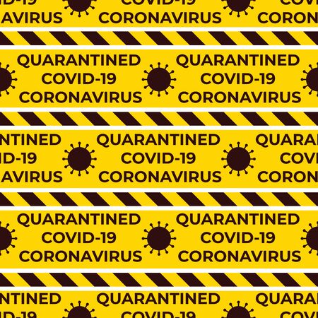 Quarantined Coronavirus Covid-19 Seamless pattern with striped ribbons. Yellow and black color. Vector Design surface warning. Virus symbol and text.