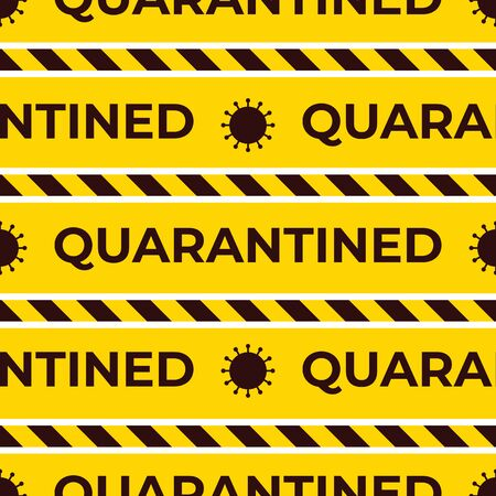 Quarantined Seamless vector pattern. Endless striped ribbons. Coronavirus symbol. Yellow and black color background. Design surface warning texture with text. Ilustración de vector