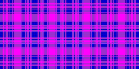 Checkered horizontal seamless pattern. Blue and fuchsia trend color striped background. Vector stock abstract cell colorfull backdrop. Surface fashion design texture