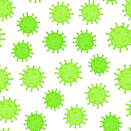 Coronavirus cell. Flu virus texture. Seamless pattern green color isolated on white background. Vector hand drawn illustration.