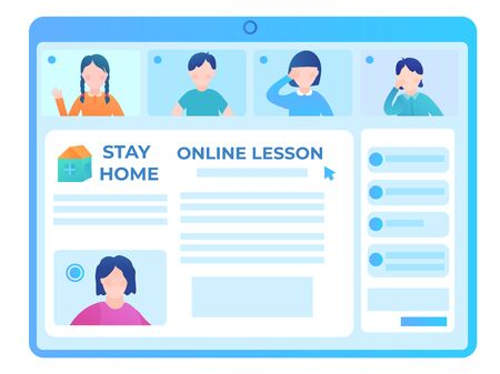 Screen with an online school lesson. Vector flat Illustration of student avatars in a video tutorial. Quarantine of the coronovirus pandemic.