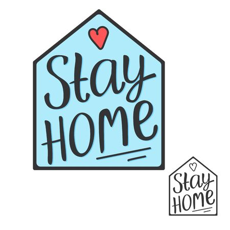 Stay home lettering isncription. Hand draw text sign. Quarantine covid-19. Vector illustration isolated on white background. Çizim