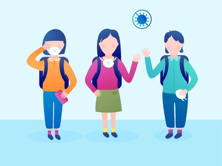 A group of schoolchildren after a coronavirus pandemic. Children began to go to school and be afraid to be without masks. Vector illustration. Çizim