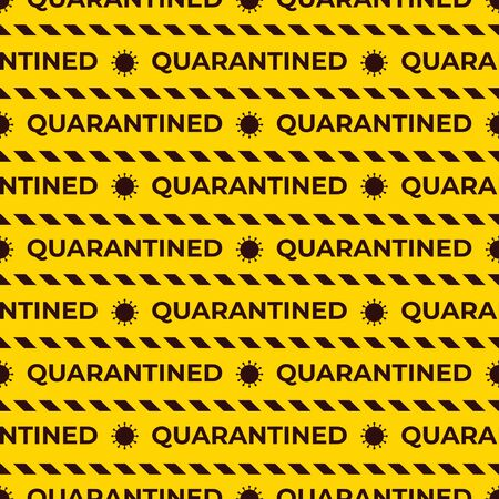 Quarantined Seamless vector pattern with striped ribbons. Coronavirus symbol. Yellow and black color. Design surface warning texture with text.