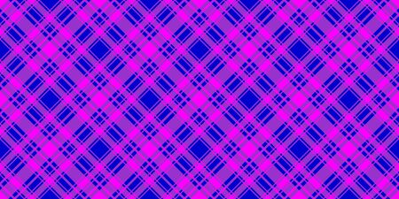 Wide checkered horizontal seamless pattern. Blue and fuchsia trend color diagonal striped background. Vector stock abstract colorfull backdrop. Surface fashion design texture