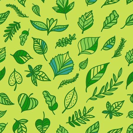 Green leaf seamless pattern. Hand drawn illustration surface print. Eco style background