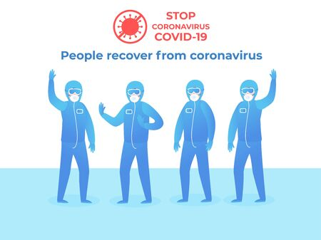 Stop COVID-19. People in protective clothing. Blue suit with glasses on a white background. Quarantine security staff at full height. Vector flat illustration.