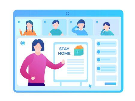 Schoolchildren at a webinar with a school teacher. Online classes during the quarantine of the coronovirus pandemic. Flat vector illustration