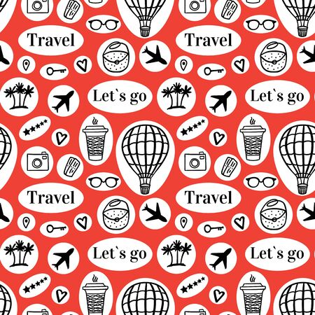 Travel seamless pattern with fashion style stickers. Vector texture traveling icons. Black Hand drawn illustration on red background. Çizim