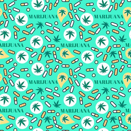 Marjuana pills Seamless pattern with leaf hemp. Organic Cannabis THC tablets. Vector texture on bright color background. Surface medical legalize design