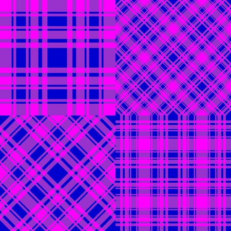 Set checkered seamless patterns. Blue and fuchsia trend color cell background. Vector stock abstract colorfull backdrop. Surface fashion design texture