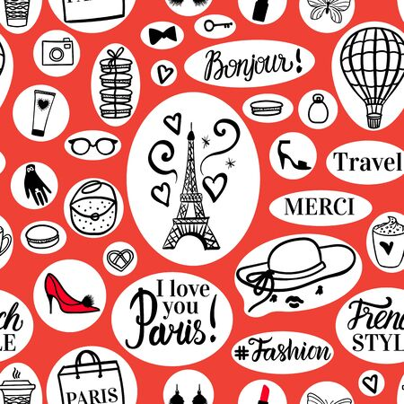 Paris seamless pattern Hand drawn black fashion illustrations Eiffel Tower and french style elements. Vector Travel surface design. Stickers on red background. Çizim