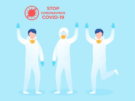 People in white protective suits. Flat vector illustration Waving hand various poses in full growth isolated on blue background Çizim