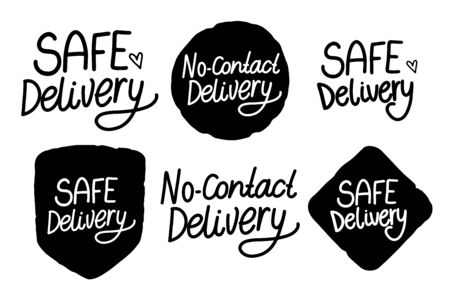 SAFE Delivery. No Contact Delivery hand drawn inscription. Black handwriting isolated on white background. Vector Set sign text