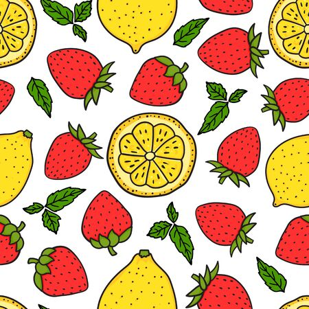 Berry Strawberry and lemon with a round slice. Yellow and Red colors. Seamless pattern texture. Vector hand drawn illustration Surface design isolated on white background. Dessert Ingredients