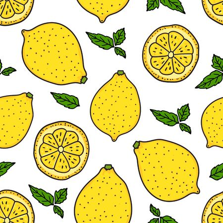 Lemon and a round slice. Seamless pattern texture. Vector hand drawn illustration. Surface yellow color minimalist kitchen design isolated on white background. Fresh summer tasty abstract background