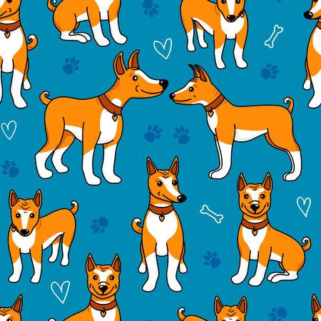 Dog Basenji seamless pattern. Vector hand drawn illustration isolated on blue background. Puppy cartoon different poses - sitting and standing. Design texture for pet shop Çizim
