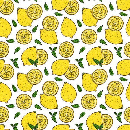 Lemon and a round slice with mint leaves. Seamless pattern texture. Vector hand drawn illustration. Surface yellow color design isolated on white background. Çizim