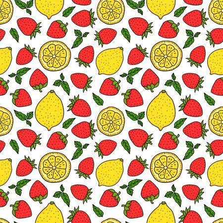 Strawberries and lemons. Seamless pattern texture. Yellow and Red colors. Whole lemon and a round slice. Vector hand drawn illustration Surface design isolated on white background.